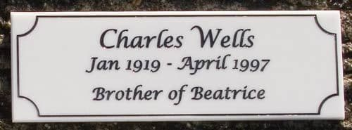 Engraved 6mm Corian Memorial Plaques & Signs   The Sign Maker Shop